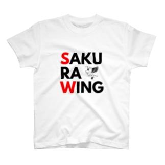 SAKURA WING 赤&黒文字 T-shirts