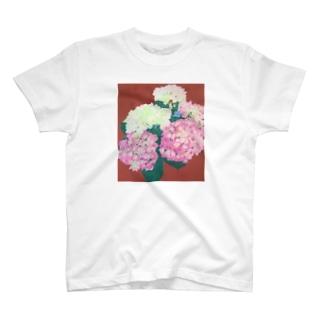 makiko-ekoyomiのピンクの紫陽花 T-shirts
