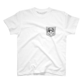 ポケット柄 チームこらいふ・サークル T-shirts