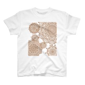 ヴィンテージレース柄 セピア T-shirts