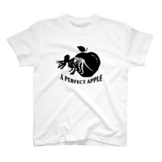 トリケラトプスとリンゴ黒 T-Shirt