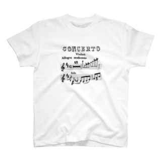 Tchaikovsky Violin Concerto手書き譜面 [Brack] T-shirts