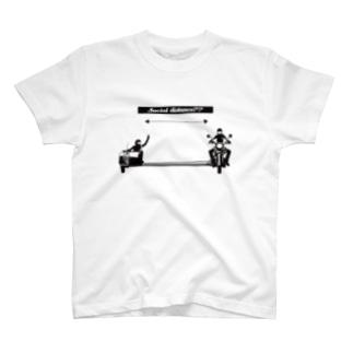 【バイク】ソーシャルディスタンス【サイドカー】 T-shirts