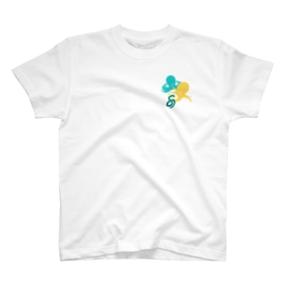 タコとヘビ柄(黄)ワンポイント T-Shirt
