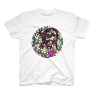 月光装身具ロゴコミカル花柄 T-shirts