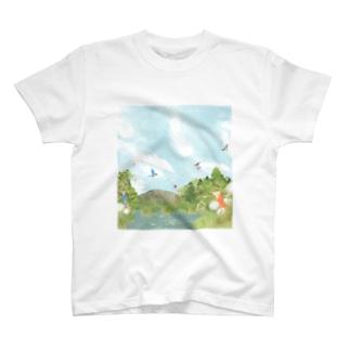 カワセミのいる風景 T-shirts
