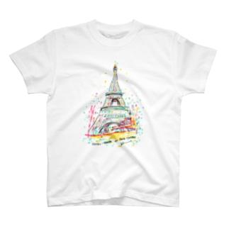 AKI ONLINE SHOP 色のある暮らしの初恋のエッフェル塔 T-shirts