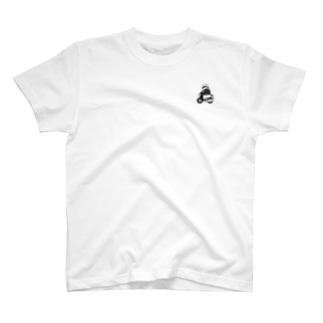 弁慶バイク(モノクロ) T-shirts