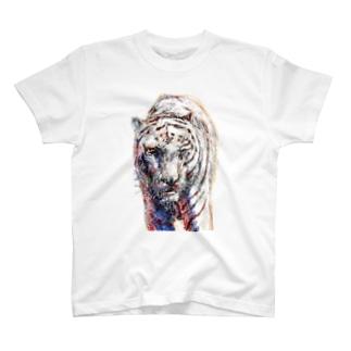 ホワイトタイガー_No.001 T-shirts