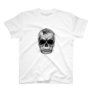 点スカル 白 T-shirts