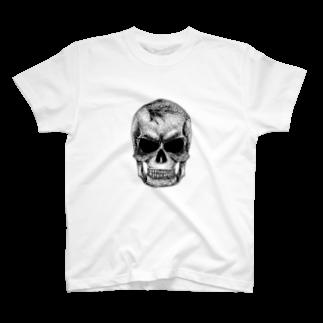 蒼天隼輝の点スカル 白 T-shirts