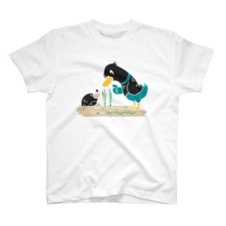 CT159 ネギを値切っている鴨カモ*B*白フチなし*大きいイラスト T-Shirt