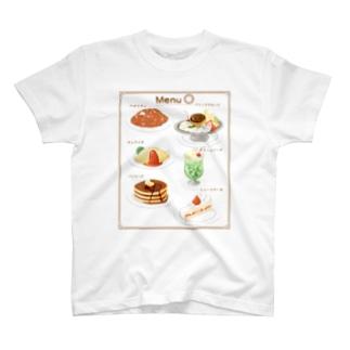 喫茶店メニューとまるまるつるっとしたうさぎ T-shirts