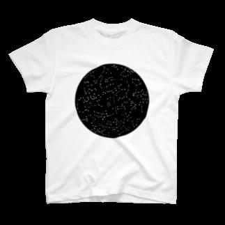 明季 aki_ishibashiの宇宙の丸穴 T-shirts