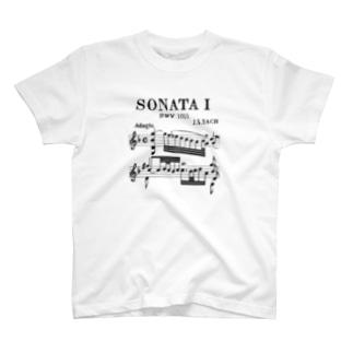 SONATA Ⅰ J.S.Bach 無伴奏バイオリンソナタ第1番 手書き譜面 [Brack] T-shirts
