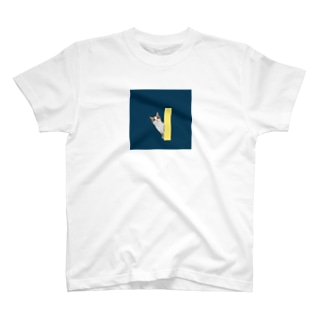 猫ひょっこりはん_紺 T-shirts