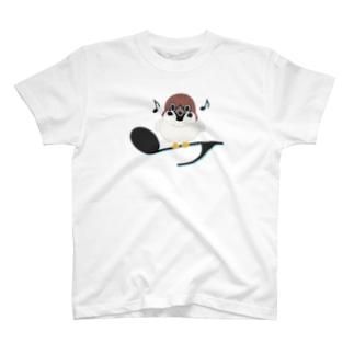 CT161 スズメがちゅんB*イラストサイズ大きいver. T-shirts