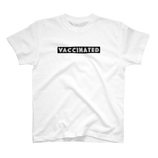 ワクチン接種済 VACCINATED - black ver. 02 - T-shirts