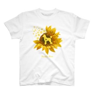 プードルひまわり T-shirts