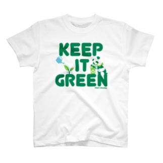 FOXY COLORSのエコ・パンダ ECO PANDA グリーン大作戦 Tシャツ white T-Shirt