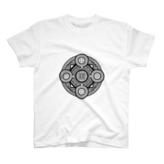 魔法陣#001黒字 T-shirts
