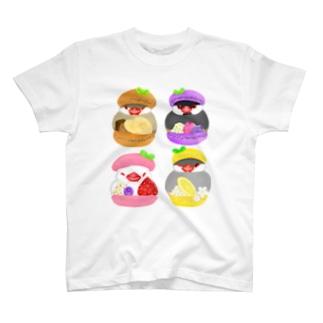 ぎゅっ♪マカロン文鳥ず T-shirts