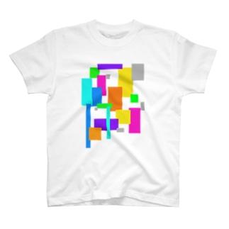 カラフルパネルTシャツ T-shirts