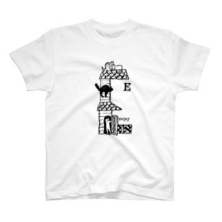 猫文字E T-shirts