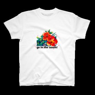 川野隆司のハイビスカス_goto the south! T-shirts
