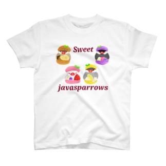 ぎゅっとマカロン文鳥ず ロゴ入り2 T-Shirt