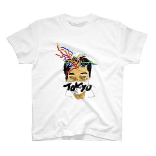 岡安新都市交通 地下鉄に想いを馳せる顔Tシャツ T-shirts