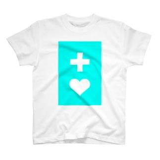 ヘルプマーク風(ターコイズブルー) T-shirts