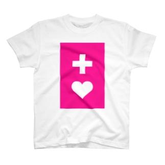 ヘルプマーク風(濃いピンク) T-shirts
