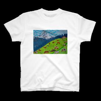 Junie貼り絵グッズのアルプスの牧場 T-shirts