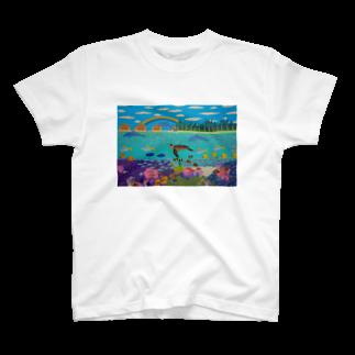 Junie貼り絵グッズのニューカレドニアのサンゴ礁 T-shirts