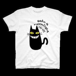 ワカボンドの夜遊び大好きな黒猫 T-shirts