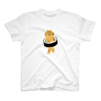 【中】太巻きを自らに巻きつけて運ぶ猫 T-shirts