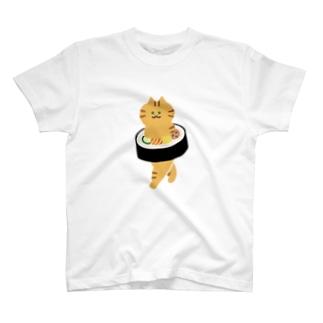 【大】太巻きを自らに巻きつけて運ぶ猫 T-shirts