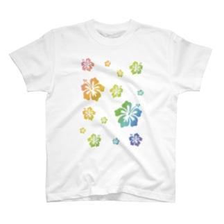 レインボーハイビスカスペール T-shirts