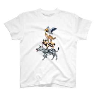 アフリカの音楽隊 淡色 T-shirts