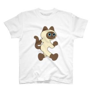 嶌星堂の飛び出し坊や猫 シャムネコ T-shirts