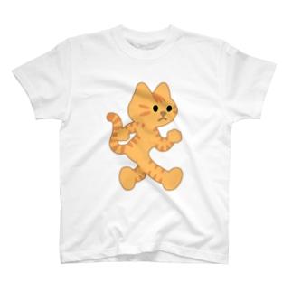飛び出し坊や猫 茶トラネコ T-shirts