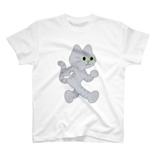 嶌星堂の飛び出し坊や猫 サバトラネコ T-shirts