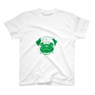 パグ母雑貨店のグリーンパグ3040グッズ T-Shirt