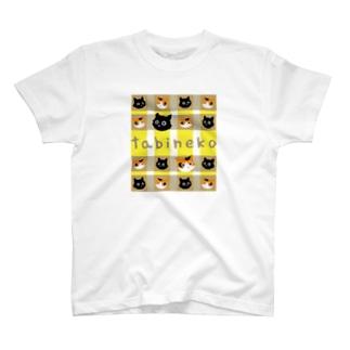 たびねこ -かおチェック T-shirts
