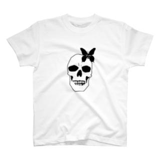 スカル×蝶 T-shirts