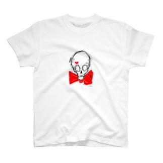 スカル×蝶ネクタイ(カラー) T-shirts