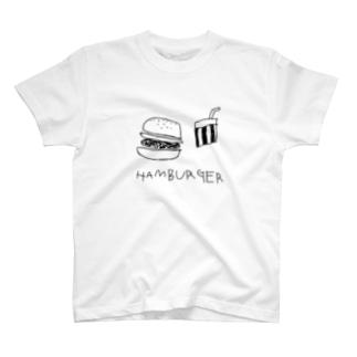 hamburger白 T-shirts