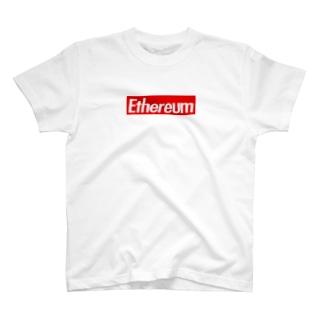 Ethereum ストリート定番の赤に白抜き T-shirts