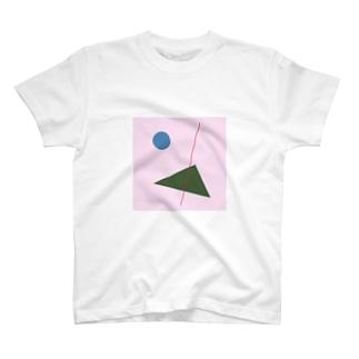 四角と丸と線 T-shirts